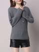 Ribbed Casual Plain Long Sleeve Sweater