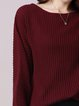 Ribbed Simple Crew Neck Casual Plain Sweater