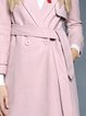 Pink Long Sleeve Plain Pockets Lapel Coat