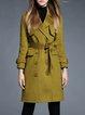 Olive Green Plain Lapel Elegant Shift Trench Coat