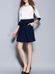 Dark Blue Casual Pockets Two Piece Mini Dress