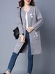 Gray Long Sleeve Knitted Pockets Coat