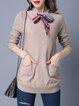 Khaki Casual Plain Bow Sweater