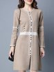 Khaki Slit Long Sleeve H-line Sweater Dress