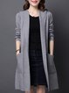Gray Knitted Hoodie H-line Casual Plain Coat