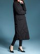 Black Lapel Long Sleeve Solid Down Coat