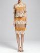Multicolor Elegant Bodycon Guipure Lace Floral Midi Skirt