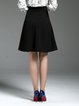 Plus Size Black A-line Solid Elegant Midi Skirt