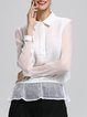 White Long Sleeve Solid Shirt Collar See-through Look Blouse