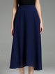 Dark Blue Elegant Asymmetric Polyester Midi Skirt