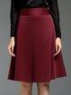 Crimson Solid Elegant Midi Skirt