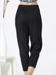 Black Solid Casual Pleated Straight Leg Pants