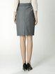 Gray Simple H-line Midi Skirt