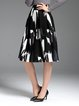 Black-white Polyester A-line Casual Midi Skirt