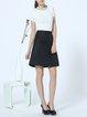 Black Simple A-line Jacquard Midi Skirt