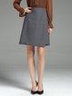 Gray Solid Elegant A-line Midi Skirt
