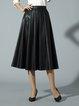 Black Pleated Solid Elegant Midi Skirt