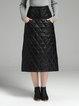 Black Casual A-line Pockets Midi Skirt