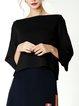 Plus Size Solid Knitted Slash Neck Elegant Sweater
