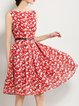 Red A-line Sleeveless Floral Midi Dress