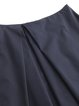 Dark Blue Simple A-line Folds Plain Midi Skirt