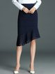 Dark Blue Cotton-blend Sheath Elegant Midi Skirt