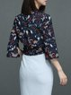 Dark Blue Floral Bell Sleeve Blouse