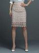 Pink Crochet-trimmed Elegant Midi Skirt