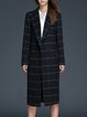 Black Checkered/Plaid Buttoned Casual Lapel Coat With Belt