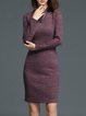Burgundy Long Sleeve Bodycon Plain Midi Dress