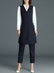 Navy Blue Elegant Two Piece Sleeveless Suits And Separate