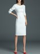 White Long Sleeve Slit Crew Neck Midi Dress