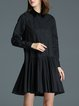 Black Elegant Shirt Collar A-line Pleated Midi Dress