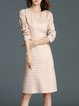 Apricot Long Sleeve Polyester Houndstooth Midi Dress