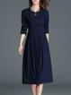 Navy Blue Long Sleeve Folds Midi Dress
