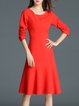 Simple Flounce Solid Long Sleeve Midi Dress