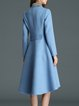 Asymmetric Blue A-line Long Sleeve Crew Neck Polyester Coat