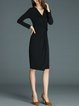 Black Solid Ruched A-line Elegant Midi Dress