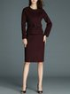 Two Piece Deep Red Long Sleeve Solid Wool Midi Skirt