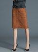Coffee Casual Slit Midi Skirt