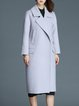 Gray Wool Blend Pockets Lapel Long Sleeve Solid Coat