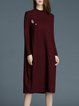 Wine Red Stand Collar Wool Blend Beaded Long Sleeve Sweater Dress