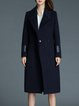 Navy Blue Lapel Solid Wool Blend Long Sleeve Coat