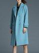 Blue Lapel Long Sleeve Pockets Plain Trench Coat
