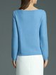 Blue Ribbed Boat Neck Blend Casual Sweater