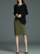 Black Solid Asymmetrical Knitted Long Sleeved Top