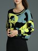 Yellow Color-block Knitted Batwing Abstract Long Sleeved Top