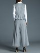 Gray Ruffled Two Piece Stripes Crew Neck Sleeveless Jumpsuit
