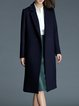 Navy Blue Elegant Lapel Long Sleeve Wool Blend Coat