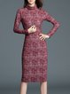 Crimson Elegant Turtleneck Sheath Midi Dress